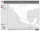 Mapa ilustrativo de Ficimia variegata (Culebra naricilla de Tehuantepec). Área de distribución potencial. La proyección citada, es exclusiva para el diseño de esta imagen.