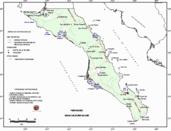Mapa ilustrativo de Mapa base del estado de Baja California Sur. En formato Geotiff