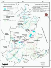 Mapa ilustrativo de Mapa base del estado de Puebla. En formato Geotiff