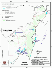 Mapa ilustrativo de Mapa base del estado de Quintana Roo. En formato Geotiff