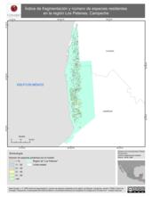 Mapa ilustrativo de Índice de fragmentación y número de especies residentes en la región Los Petenes, Campeche