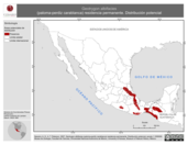 Mapa ilustrativo de Geotrygon albifacies (paloma-perdiz carablanca) residencia permanente. Distribución potencial.