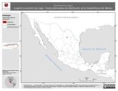 Mapa ilustrativo de Gerrhonotus lugoi (Lagarto escorpión de Lugo). Área de distribución potencial. La proyección citada, es exclusiva para el diseño de esta imagen.