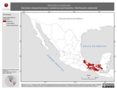 Mapa ilustrativo de Glaucidium griseiceps (tecolote mesoamericano) residencia permanente. Distribución potencial.