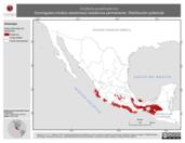 Mapa ilustrativo de Grallaria guatimalensis (hormiguero-cholino escamoso) residencia permanente. Distribución potencial.
