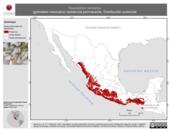 Mapa ilustrativo de Granatellus venustus (granatelo mexicano) residencia permanente. Distribución potencial.