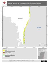 Mapa ilustrativo de Hábitat bénticos del Parque Nacional Arrecifes de Xcalak