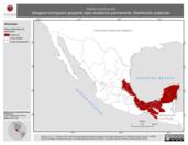Mapa ilustrativo de Habia fuscicauda (tángara-hormiguero garganta roja) residencia permanente. Distribución potencial.