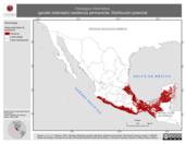 Mapa ilustrativo de Harpagus bidentatus (gavilán bidentado) residencia permanente. Distribución potencial.
