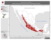 Mapa ilustrativo de Heliomaster constantii (colibrí picudo) residencia permanente. Distribución potencial.