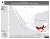 Mapa ilustrativo de Heliornis fulica (pájaro cantil) residencia permanente. Distribución potencial.