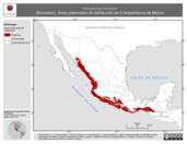 Mapa ilustrativo de Heloderma horridum (Escorpión). Área de distribución potencial. La proyección citada, es exclusiva para el diseño de esta imagen.