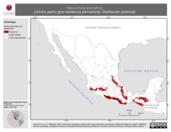 Mapa ilustrativo de Henicorhina leucophrys (chivirín pecho gris) residencia permanente. Distribución potencial.