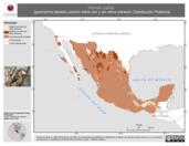 Mapa ilustrativo de Hirundo rustica (golondrina tijereta) usando sitios con y sin clima extremo. Distribución Potencial
