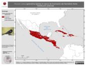 Mapa ilustrativo de Hirundo rustica (golondrina tijereta) en época de invernación del Hemisferio Norte. Distribución potencial.
