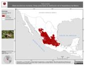 Mapa ilustrativo de Hyla eximia (Rana de árbol de montaña). Área de distribución potencial. La proyección citada, es exclusiva para el diseño de esta imagen.