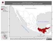 Mapa ilustrativo de Hylomanes momotula (momoto enano) residencia permanente. Distribución potencial.