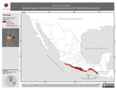 Mapa ilustrativo de Icterus pectoralis (bolsero pecho manchado) residencia permanente. Distribución potencial.