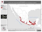 Mapa ilustrativo de Iguana iguana (Iguana verde). Área de distribución potencial. La proyección citada, es exclusiva para el diseño de esta imagen.
