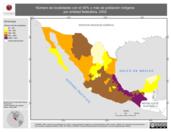 Mapa ilustrativo de Número de localidades con menos del 40% de población indígena por entidad federativa, 2002