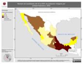 Mapa ilustrativo de Número de localidades del 40 al 69% de población indígena por entidad federativa, 2002