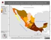 Mapa ilustrativo de Población total, población indígena y sus características por entidad federativa, 2002