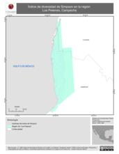 Mapa ilustrativo de Indice de diversidad de Simpson en la región Los Petenes, Campeche