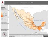 Mapa ilustrativo de Ingreso en México por municipio, 2000. La proyección citada, es exclusiva para el diseño de esta imagen.