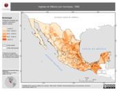 Mapa ilustrativo de Ingreso en México por municipio, 1990. La proyección citada, es exclusiva para el diseño de esta imagen.