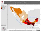 Mapa ilustrativo de Población indígena ocupada según sector de ocupación por entidad federativa, 2002