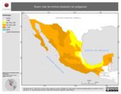 Mapa ilustrativo de Enero: mes de mínima insolación (en polígonos)