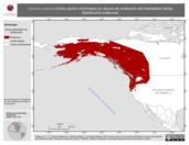 Mapa ilustrativo de Ixoreus naevius (mirlo pecho chinchado) en época de anidación del Hemisferio Norte. Distribución potencial.