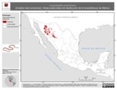 Mapa ilustrativo de Lampropeltis pyromelana (Culebra real sonorense). Área de distribución potencial. La proyección citada, es exclusiva para el diseño de esta imagen.