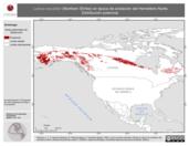 Mapa ilustrativo de Lanius excubitor (Northern Shrike) en época de anidación del Hemisferio Norte. Distribución potencial.