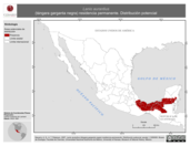 Mapa ilustrativo de Lanio aurantius (tángara garganta negra) residencia permanente. Distribución potencial.