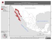 Mapa ilustrativo de Larus glaucescens (gaviota alaglauca) invierno. Distribución potencial.