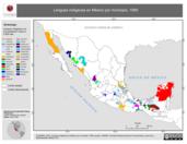 Mapa ilustrativo de Lenguas indígenas en México por municipio, 1990. La proyección citada, es exclusiva para el diseño de esta imagen.