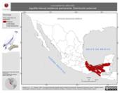 Mapa ilustrativo de Leucopternis albicollis (aguililla blanca) residencia permanente. Distribución potencial.