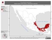 Mapa ilustrativo de Limnothlypis swainsonii (chipe corona café) tránsito. Distribución potencial.