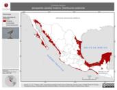 Mapa ilustrativo de Limosa fedoa (picopando canelo) invierno. Distribución potencial.