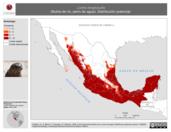 Mapa ilustrativo de Lontra longicaudis (Nutria de río, perro de agua). Distribución potencial.