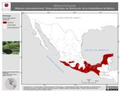 Mapa ilustrativo de Mabuya brachypoda (Mabuya centroamericana). Área de distribución potencial. La proyección citada, es exclusiva para el diseño de esta imagen.