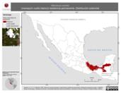 Mapa ilustrativo de Manacus candei (manaquín cuello blanco) residencia permanente. Distribución potencial.
