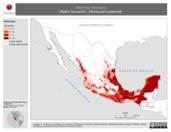 Mapa ilustrativo de Marmosa mexicana (Ratón tlacuache). Distribución potencial.