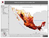 Mapa ilustrativo de Grados de marginación a nivel localidad, 2000. La proyección citada, es exclusiva para el diseño de esta imagen.
