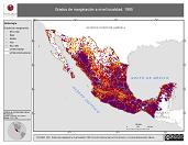 Mapa ilustrativo de Grados de marginación a nivel localidad, 1995. La proyección citada, es exclusiva para el diseño de esta imagen.