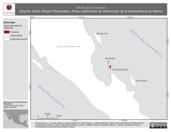 Mapa ilustrativo de Masticophis barbouri (Espiritu Santo Striped Whipsnake). Área de distribución potencial. La proyección citada, es exclusiva para el diseño de esta imagen.