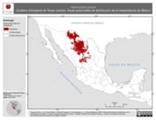 Mapa ilustrativo de Masticophis girardi (Culebra chirriadora de Texas central). Área de distribución potencial. La proyección citada, es exclusiva para el diseño de esta imagen.