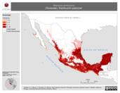 Mapa ilustrativo de Mazama americana (Temazate). Distribución potencial.
