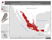 Mapa ilustrativo de Megascops trichopsis (tecolote rítmico) residencia permanente. Distribución potencial.